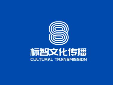 蓝色简约文化传媒公司数字logo设计
