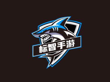 酷炫鲨鱼电竞游戏网站徽章logo设计