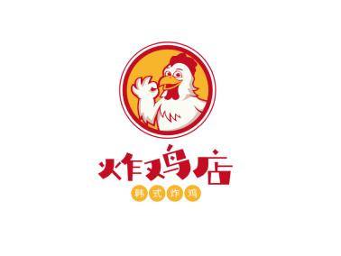 簡約卡通餐飲美食炸雞店徽章logo設計