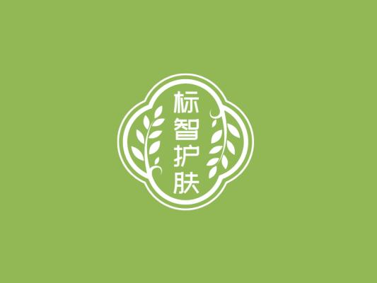 绿色简约中式植物护肤美妆徽章logo设计