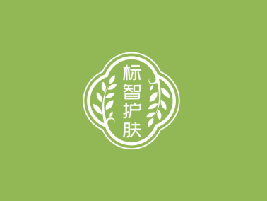 綠色簡約中式植物護膚美妝徽章logo設計
