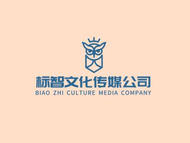 蓝色创意猫头鹰文化传媒公司logo设计
