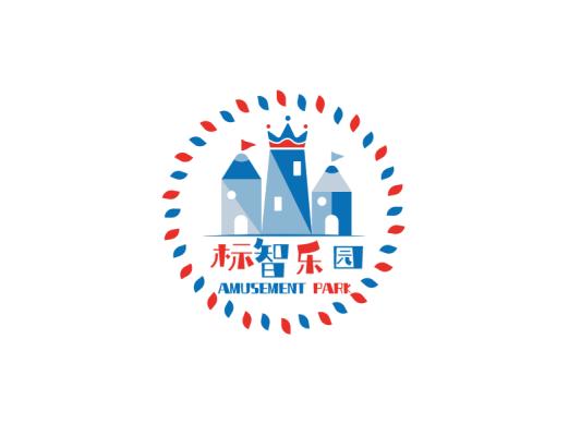 蓝色创意活泼卡通游乐园徽章logo设计