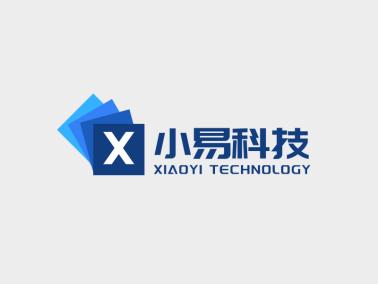 蓝色层叠商务科技公司logo设计