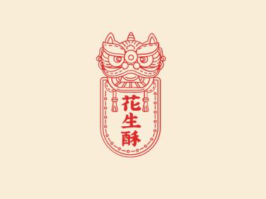 红色传统创意狮子中国风美食糕点店铺徽章logo设计
