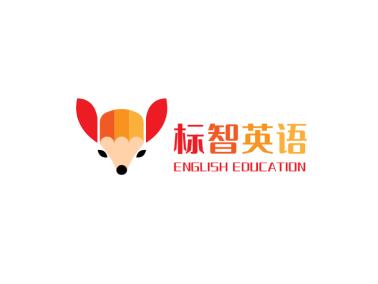 红色卡通创意狐狸教育培训公司logo设计