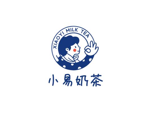蓝色创意极简人物徽章logo设计