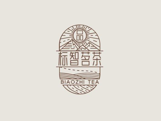 棕色创意传统茶文化徽章logo设计