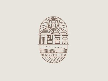 棕色創意傳統茶文化徽章logo設計