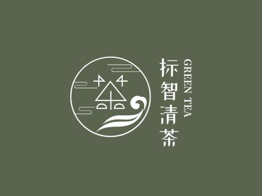 绿色中式茶茗茶店铺logo设计
