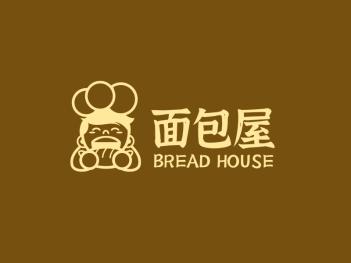 简约创意卡通人物面包屋店铺logo设计
