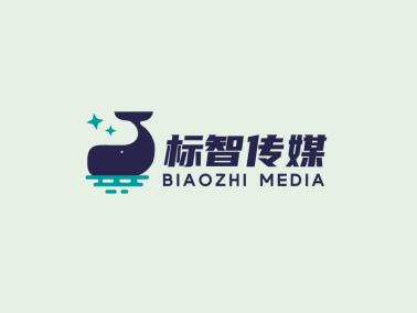 黑色创意卡通鲸鱼文化传媒公司logo设计