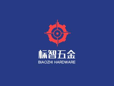 红色简约机械齿轮五金店铺logo设计