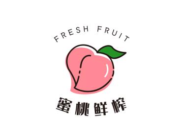 粉色蜜桃奶茶店铺logo设计