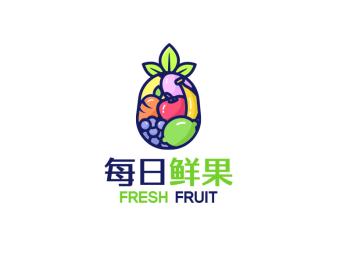 彩色活泼创意水果logo设计