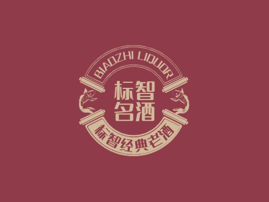 红色中式酒水酒庄徽章logo设计