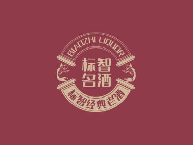 紅色中式酒水酒莊徽章logo設計