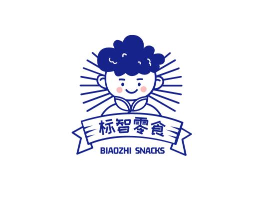 蓝色创意卡通人物零食美食店铺徽章logo设计