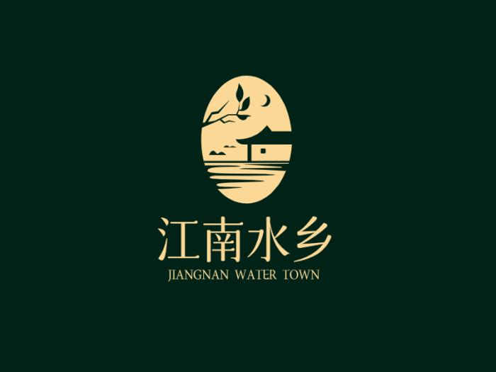 黑色创意中式江南水乡产品商标logo设计