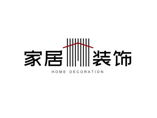 黑色创意线条家居装饰店铺logo设计