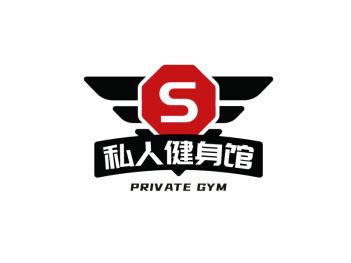 黑色创意酷炫游戏健身徽章logo设计