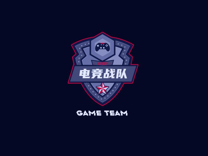 黑色酷炫电子电竞战队游戏徽章logo设计