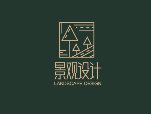 黑色创意抽象园林景观logo设计
