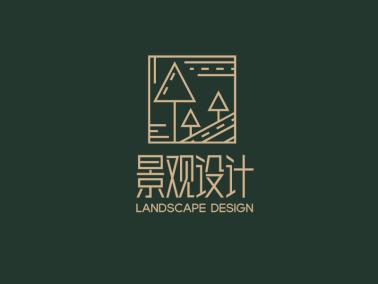 黑色創意抽象園林景觀logo設計