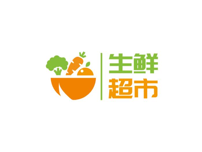 橙色扁平简约水果蔬菜生鲜超市店铺logo设计