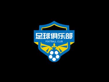 蓝色创意足球俱乐部徽章logo设计