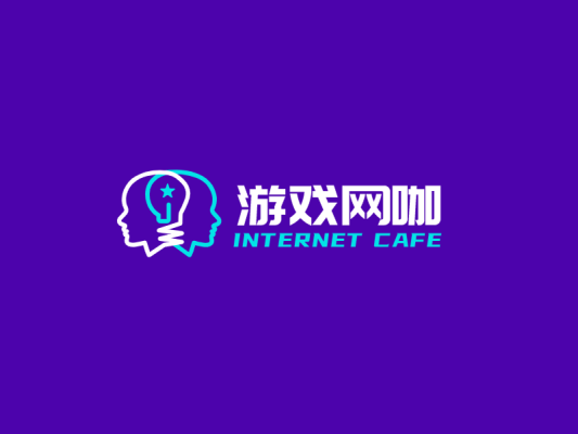 紫色创意酷炫电竞游戏网咖店铺logo设计