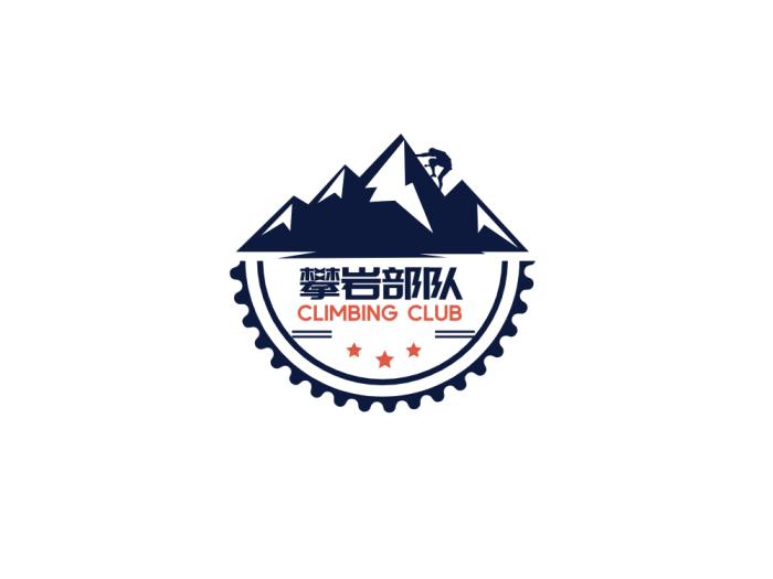 黑色酷炫攀岩徽章logo设计