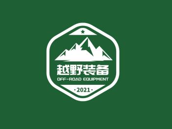 绿色简约酷炫越野攀登户外运动徽章logo设计
