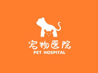 橙色創意活潑動物寵物醫院logo設計