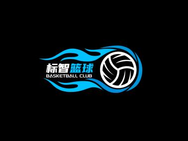 黑色酷炫篮球运动徽章logo设计