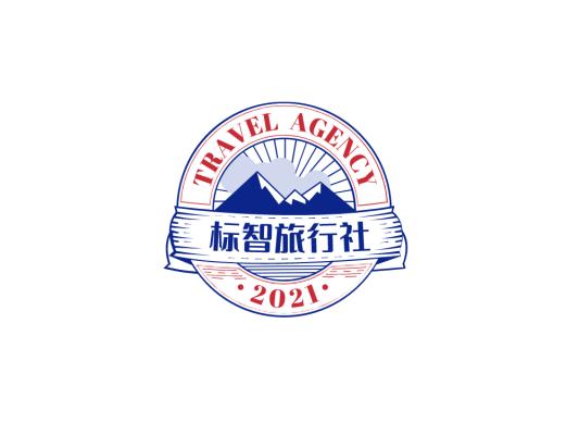 蓝色创意户外运动旅游徽章logo设计