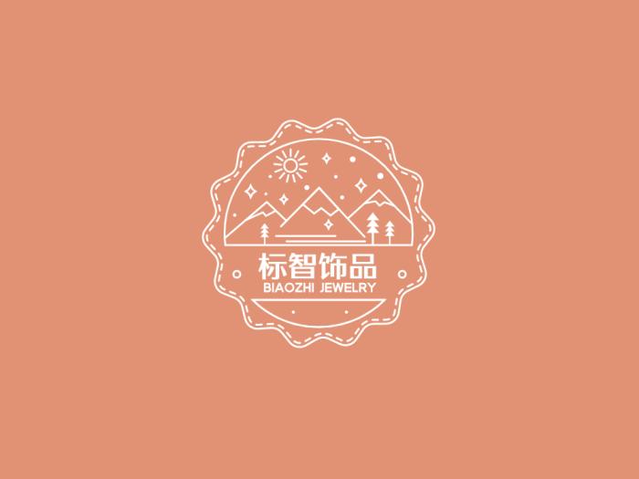 粉色创意文艺徽章logo设计