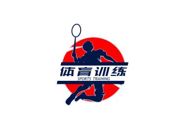 红色创意体育训练运动徽章logo设计
