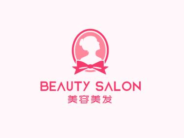 粉色文艺美容美发店铺logo设计
