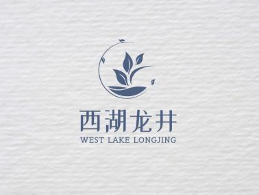 蓝色简约文艺茗茶产品商标店铺logo设计