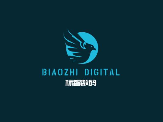 蓝色简约酷炫数码店铺logo设计