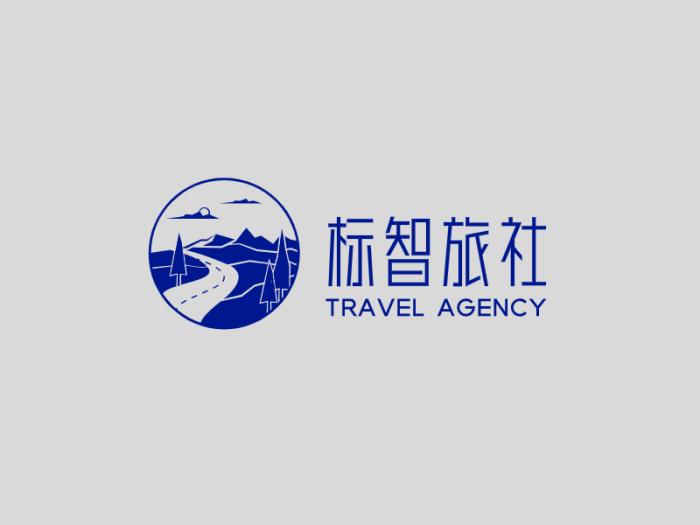 蓝色创意高级风景图标logo设计