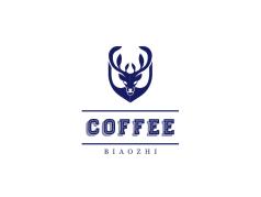蓝色创意鹿角咖啡店店铺logo设计
