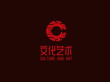 紅色中式文化藝術公司logo設計