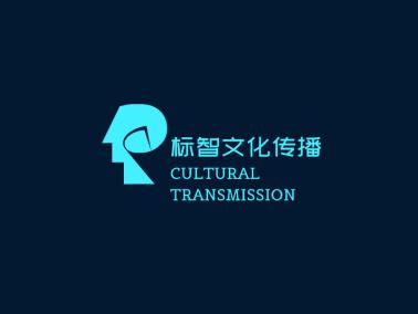 青色創意人頭圖標公司logo設計