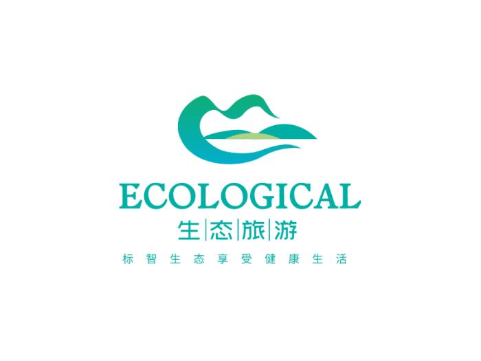 青色简约文艺旅游景区logo设计