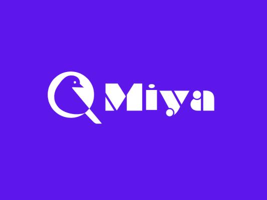紫色创意英文鸟造型产品商标logo设计