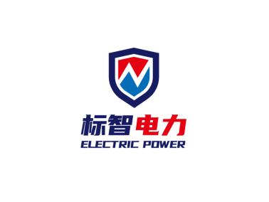 蓝色简约安全电力徽章logo设计