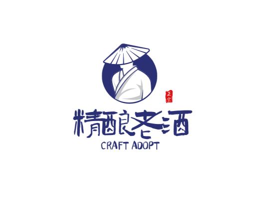 蓝色创意中式人物产品商标logo设计