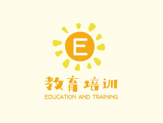 橙色卡通教育培训机构logo设计